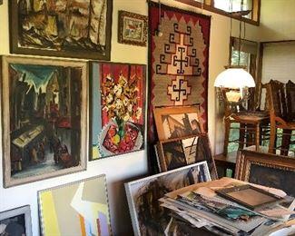 original art + Native weaving, oak table + chairs