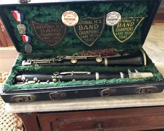 1930s clarinet with award patches + medals Lane Tech