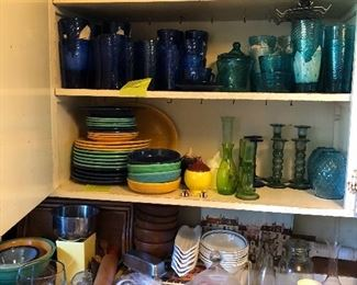 Fiesta, Mexican handblown glass sets, Depression glass & vintage kitchen