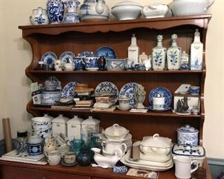 blue & white china, Delft, canister & condiment sets, dining room hutch