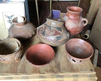 pre-columbian chupicuaro pottery from Mexico stored in glass cabinet for 50+ years