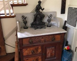 Marble topped commode / wash stand would make a nice vanity!