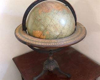 c. 1920 Rand McNally 12 in Full Mount Terrestrial Globe w/ Horizon & Tripod claw & ball feet. Dusty but incredible and hard to find.