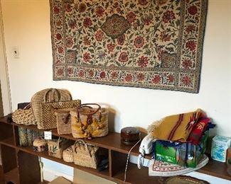 vintage basket purses, king headboard shelf, quilted wall hanging