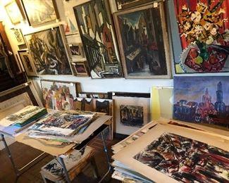 Stacks! Original art - oils, watercolors, ink, block prints, charcoal