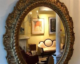 18th C transitional mirror, original gilt, baroque features - this item is in stunning antique condition!