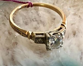 Diamond and 14K engagement band, vintage
