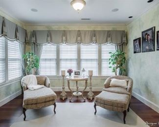 Chaise and matching chair with ottoman
