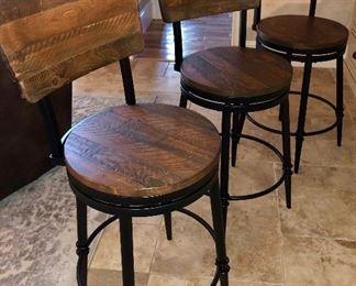 Heavy Wooden Bar Stools - Like New
