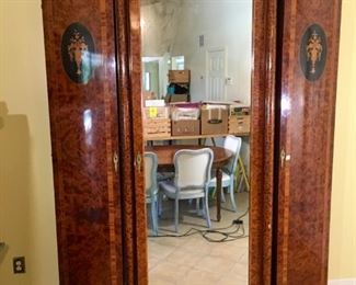 Exquisite Antique  French Art Deco Armoire, Inlaid Rosewood Marquetry