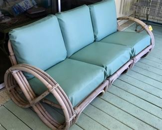 1940 Turned Bamboo 3-Section Outdoor Couch