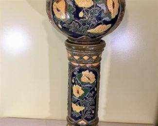 """1890 Art Nouveau Italian Majolica, Jardinere with Pedestal, 13"""" Diameter"""