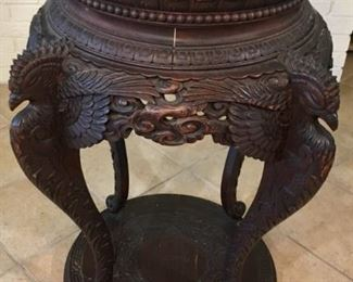 Ca. 1850s French Gideon Highly Embellished Hand Carved Chinoiserie Table with Phoenix Supports and Greek Key Base