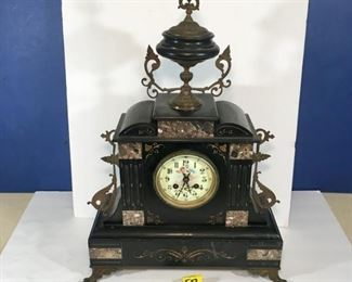 Exquisite Antique French 1850 French Napoleon III, Bronze Ormolu Black Onyx Clock, Hand Painted Cherubs on Clock Face