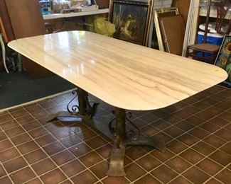 1950s French marble top table with double pedestal metal base