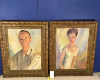 1958 Original Oil paintings on canvas, Pair of portraits signed by Listed artist Hal Beaven Peterman Man & Woman Portraits, (He painted Queen Elizabeth II portrait)Original London Frames (Pr.)