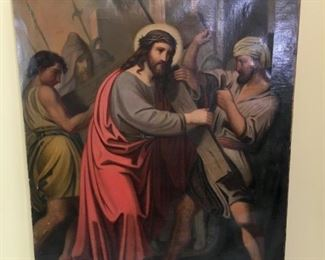 1850s Original Oil painting on canvas, unknown artist, Station of the Cross