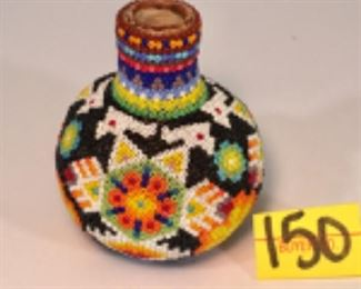 Central American Huichol Indian beaded pottery