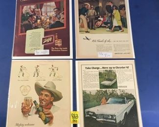 1930-1950's Magazine Advertisements; Ballantine Ale, Chrysler, Schlitz beer, American Airlines (4)
