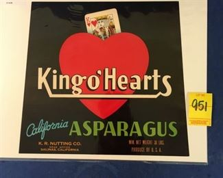 1930's crate label; King O' Hearts Asparagus