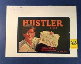 1930's crate label; Hustler Brand Bartletts