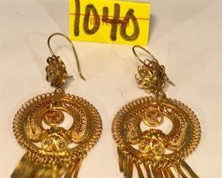 Gold Tone Frida Chandelier Earrings, Filigree design