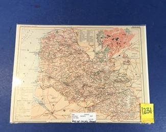 1884 Map; Pas-De-Calais France