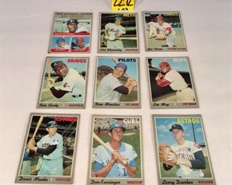 1970 Topps Baseball cards; Joe Torre, Don Mincher, Lee May, Don Kessinger, Larry Dierker, Denis Menke, Rico Carty, 1969 National League RBI Leaders (9)