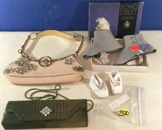 Victorian leather baby shoes, green evening bag, Bond Street Spats in box, Guess purse (4)
