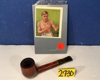 Winthrop Briar Wood pipe & Frank Klaus boxing card