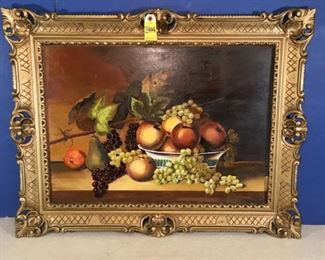 Fruit Heaven, still life, original painting on board not signed, framed