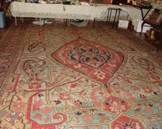 This is a rare example of an antique Persian Serapi that does not come on the market often.  The colors are vibrant and there are no worn spots in the carpet.