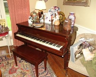 Mahogany Baby Grand Piano, Howard by Baldwin, Serial number 326332           And Staffordshire porcelains