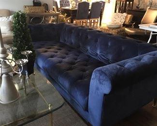 """86""""L x 39""""D x 28"""" H Royal Blue Sofa w/chrome feet"""