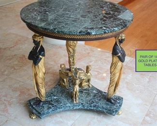 Pair of 18K Gold Plated Round Marble Tables with Gold Egyptian Accents
