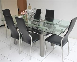 Metal & Glass Rectangular Table and 6 Chairs