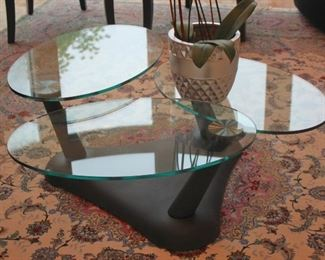 Contemporary Metal & Glass Coffee Table