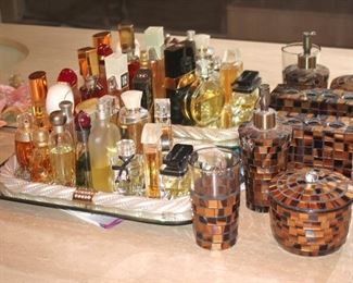 Perfume Bottles, Vanity Tray and Tiled Decorative Bathroom Dispensers
