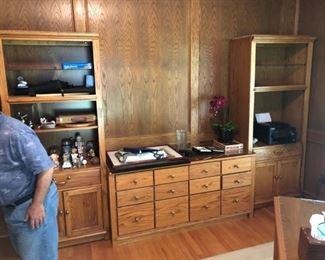 Oak bookcases & drawer set