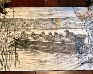 """Stormboat Training"" on Meuse River near Andenne-Belgium""  10 Nov 44 Signed S/Sgt Rudy Wedow sketch measures ( 12"" x 20 1/2"" )"
