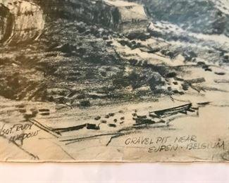 """Gravel Pit near Eupen - Belgium"" signed S/Sgt. Rudy Wedow."