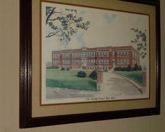 Matted framed 'Bradley Central Hi School'