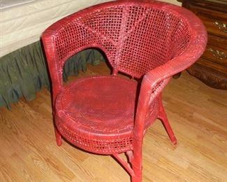 Vintage red round wicker chair