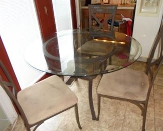 Round glass top & stone breakfast table w/4 matching chairs