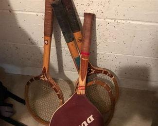 Vintage tennis rackets.
