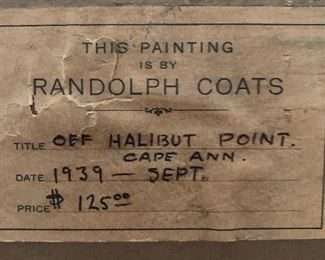 Original price take of Randolph Coats painting