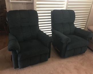 (2) Green Recliners