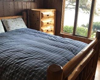 three piece log rustic solid wood bedroom set