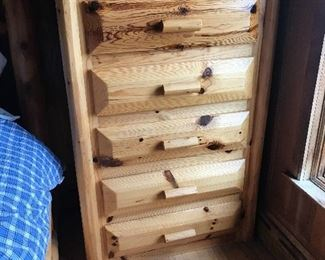 Rustic log chest of drawers