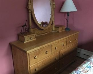 Custom made solid oak dresser and mirror